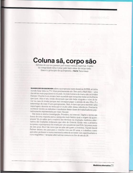 Revista Super Interessante - Quiropraxia Dr. Fabio Motta - segunda pagina pagina