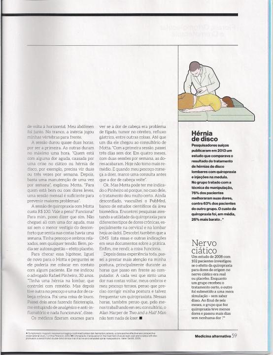 Revista Super Interessante - Matéria Sobre Quiropraxia Com o Dr. Fabio Motta - sexta parte