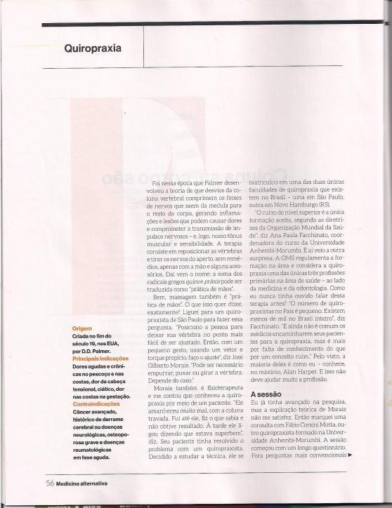 Revista Super Interessante - Matéria de Quiropraxia Dr. Fabio Motta - terceira parte